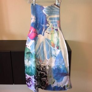 Lapis Strapless multicolored dress